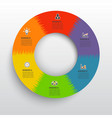 circle chart infographic template with 6 options vector image