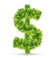 Dollar sign alphabet of green leaves vector image vector image