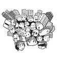 faces doodles city vector image vector image