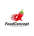 fast food logo concept red chili logo design vector image vector image