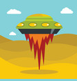 flat cartoon space ufo object in the color vector image vector image