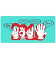 Gestures by hands which are wishes in new year vector image vector image