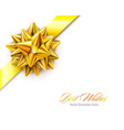 gold realistic bow with ribbons isolated vector image vector image