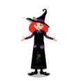 halloween of young witch girl with ginger hair on vector image vector image