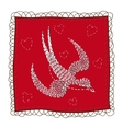 Handkerchief with swallow embroidery vector image vector image