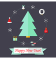 Happy New Year Card with Christmas Tree over Dark vector image vector image