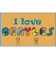 I love Beatles Colorful vintage font vector image vector image