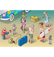 Isometric Tourists Peoples Set in Vacation vector image vector image