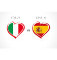 italy vs spain flags in heart emblem vector image vector image