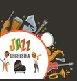 jazz orchestra or jazzband with cartoon characters vector image vector image