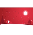 Landscape of people skiing at night winter vector image vector image