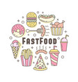 linear flat fast food badge banner or logo emblem vector image vector image