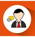 man bearded and bubble speech icon vector image