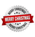merry christmas 3d silver badge with red ribbon vector image vector image