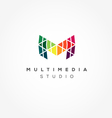 Modern Letter M logo Pixel vector image