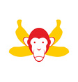 Monkey and bananas Chimpanzee head and crossed
