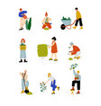 people working in garden or farm set girls and vector image vector image