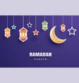 ramadan kareem greeting card moon and stars vector image vector image