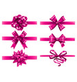 realistic pink ribbons with bows festive wrapping vector image vector image