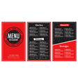 restaurant menu red and black modern design vector image vector image