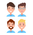 set men faces character constructor hairstyles vector image vector image