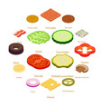 slice food icons set isometric style vector image