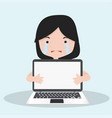 small girl cry with holding a laptop vector image vector image