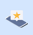smartphone and push notification with star on it vector image vector image