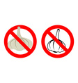 Stop garlic Prohibited bad breath Crossed-out vector image vector image