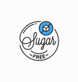 sugar free logo round linear logo sugar vector image