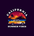 summer beach with classic car logo vector image vector image