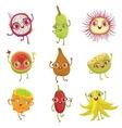 Tropical Fruits Girly Cartoon Characters Set vector image vector image