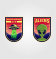 ufo and alien logo patches design vector image