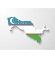 uzbekistan map with shadow effect vector image vector image