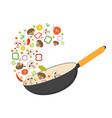 wok pan tomato paprika pepper shiitake vector image vector image