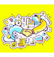colorful of handshake with documents and gra vector image