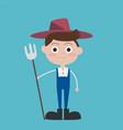 cute flat farmer cartoon characters wear blue vector image