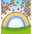 A sky with a rainbow and a group of floating vector image