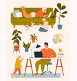 a woman on couch man at desk working vector image