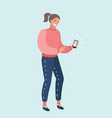 a woman with a smartphone vector image vector image
