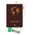 airline passenger ticket and passport vector image vector image