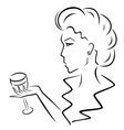 Beautiful woman with a wineglass in hand vector image vector image