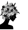 black woman profile with flowers in her head vector image vector image