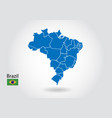 brazil map design with 3d style blue brazil map vector image vector image