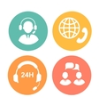 call center icons operator and headset vector image