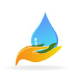 caring hands and water drop icon vector image