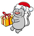cat with christmas present cartoon vector image vector image