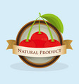 cherry natural product label vector image vector image