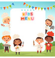 children cooking background little kids chef vector image