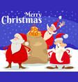 christmas card design with santa claus characters vector image vector image